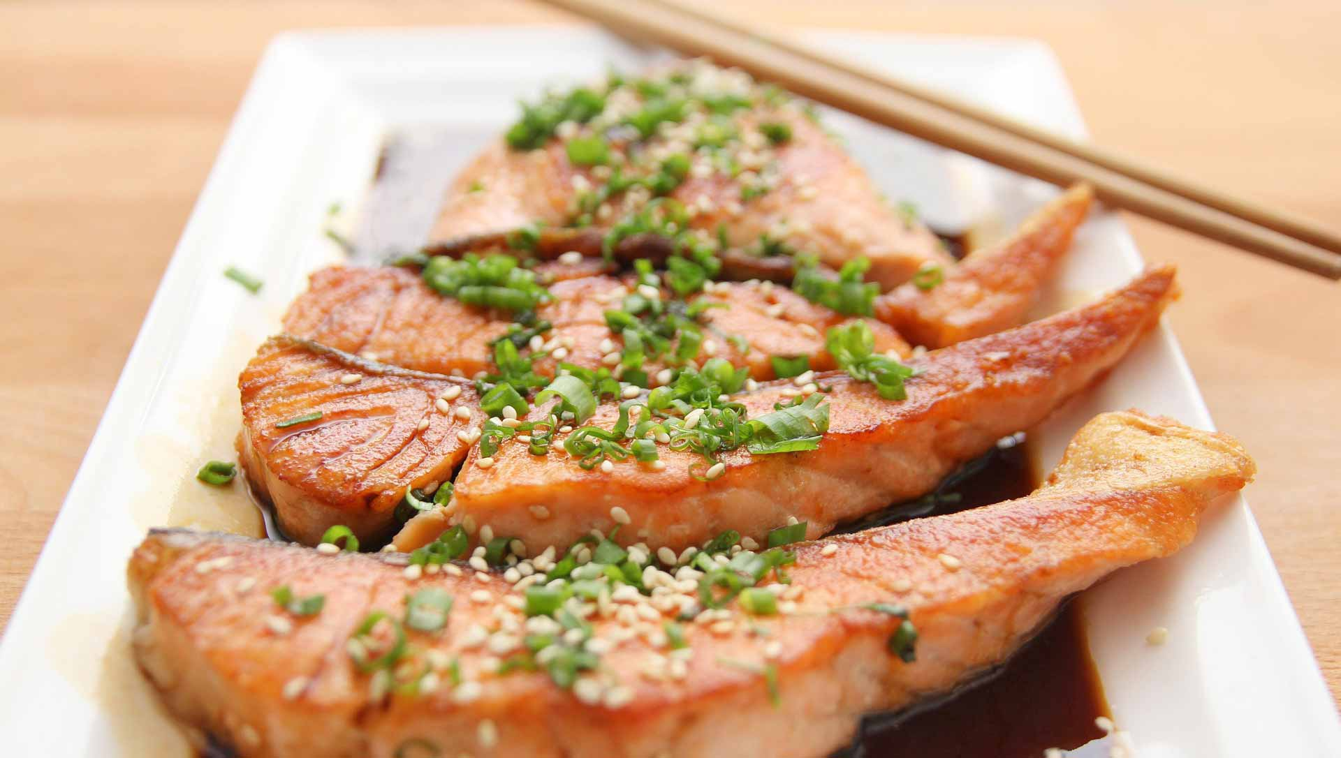stekt laxfilé med wasabi